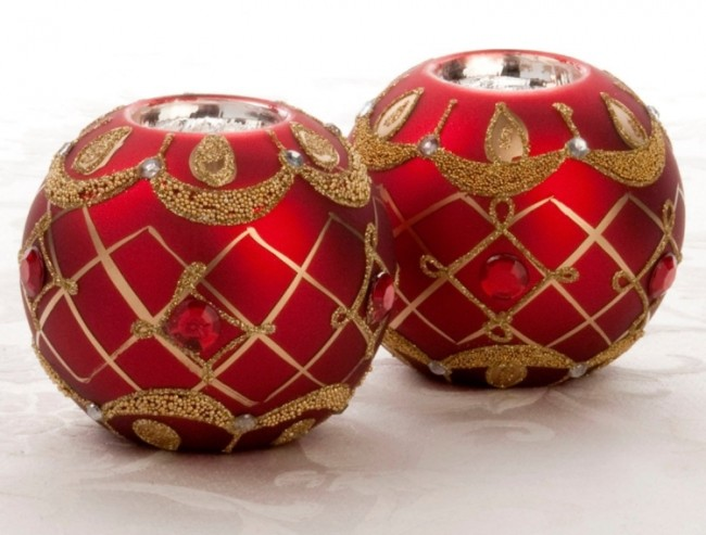 Set of Two Red Large Beaded Votive Candle Holders