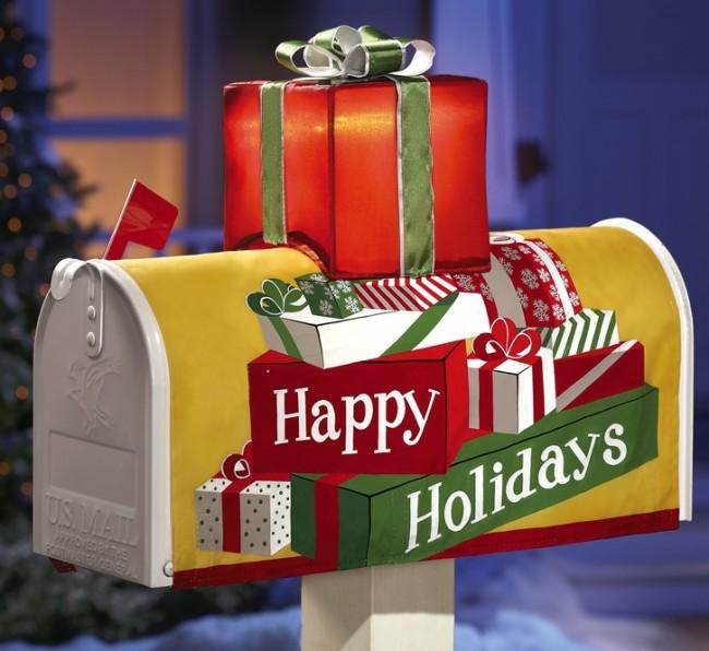 Solar Happy Holidays Mailbox Cover Decoration