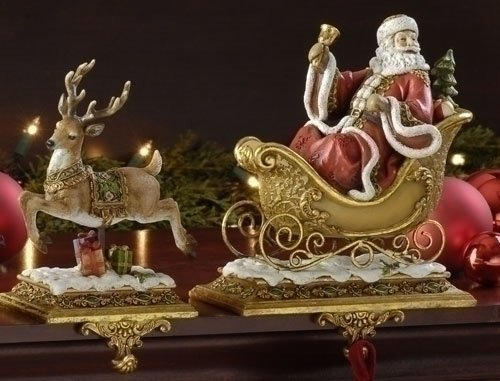 Studio Santa Claus and Reindeer Christmas Stocking Holders
