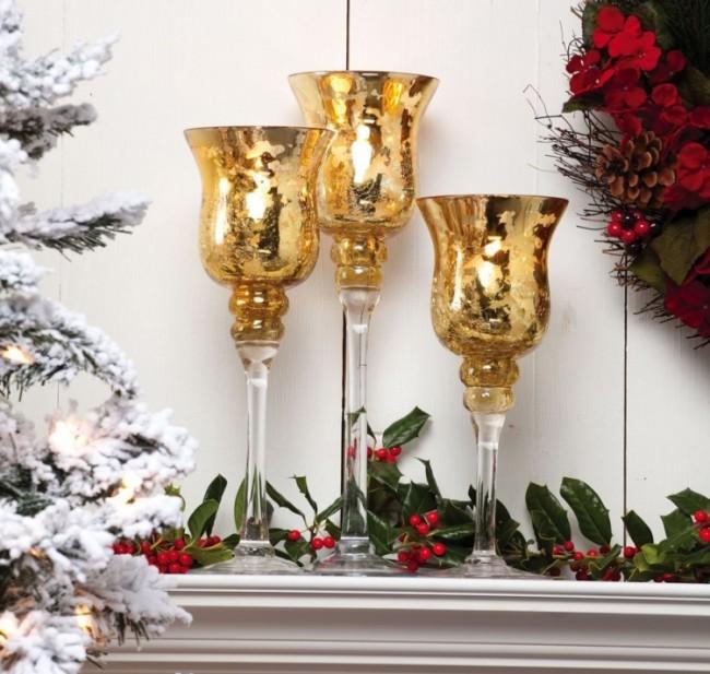 A Peaceful Christmas Glass Candlestick