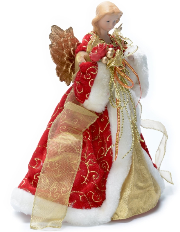 Angel Tree Topper with Red Velvet Coat and White Fur Trim