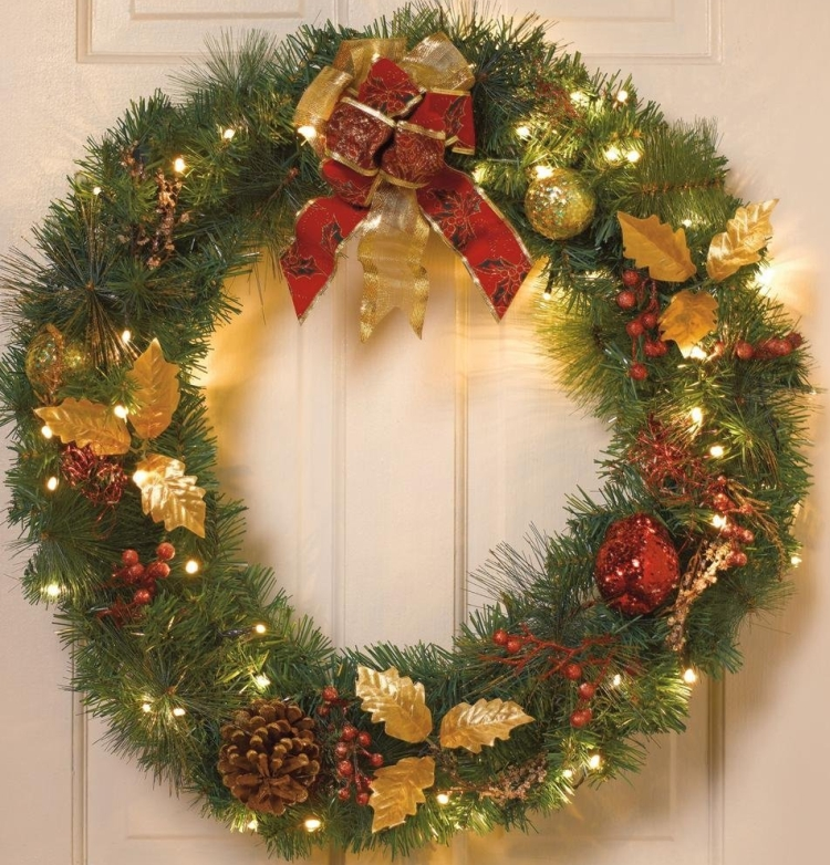 Battery Operated Cordless Led Christmas Wreath With Timer