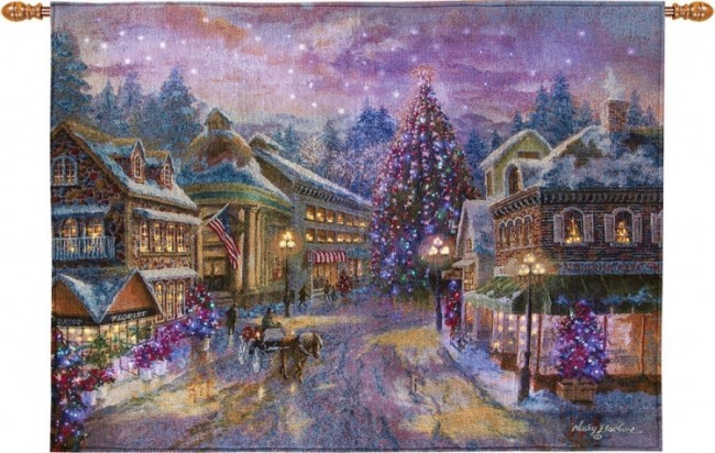Christmas Eve Fiber Optic Wall Hanging Tapestry