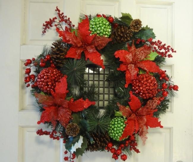 Christmas Poinsettia  Glitter Ball Wreath