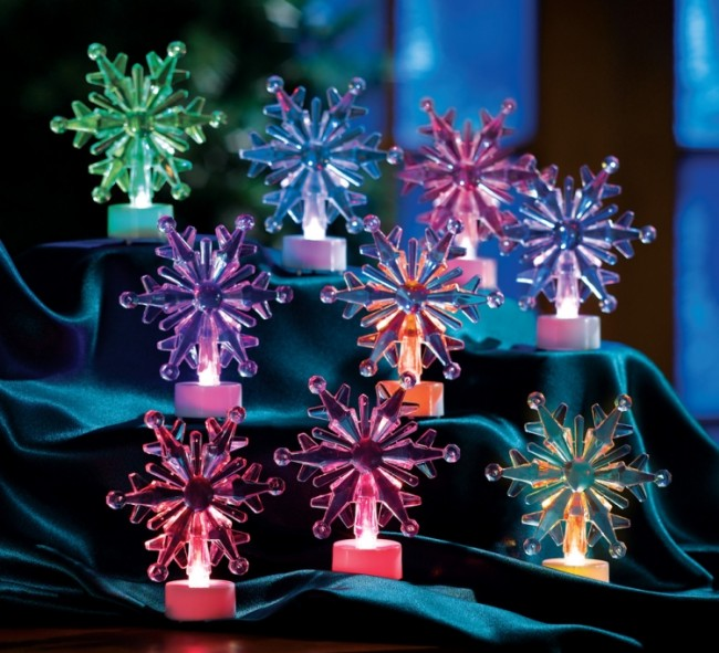 Color Changing Winter Snowflake Tealights