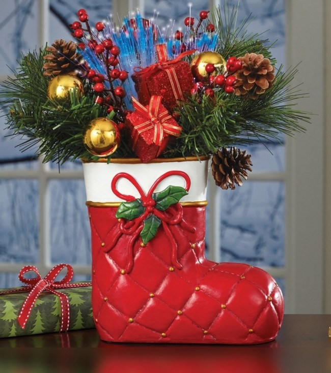Fiber Optic Christmas Stocking Floral Centerpiece