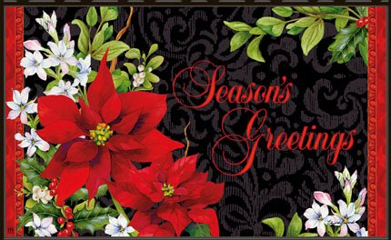 Holiday Floral Poinsettia Doormat