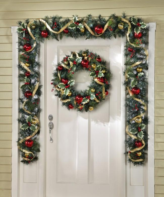 Holly Berry Ribbon Ornament Holiday Wreath