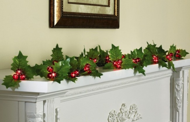 Holly Berry String Lights With Timer