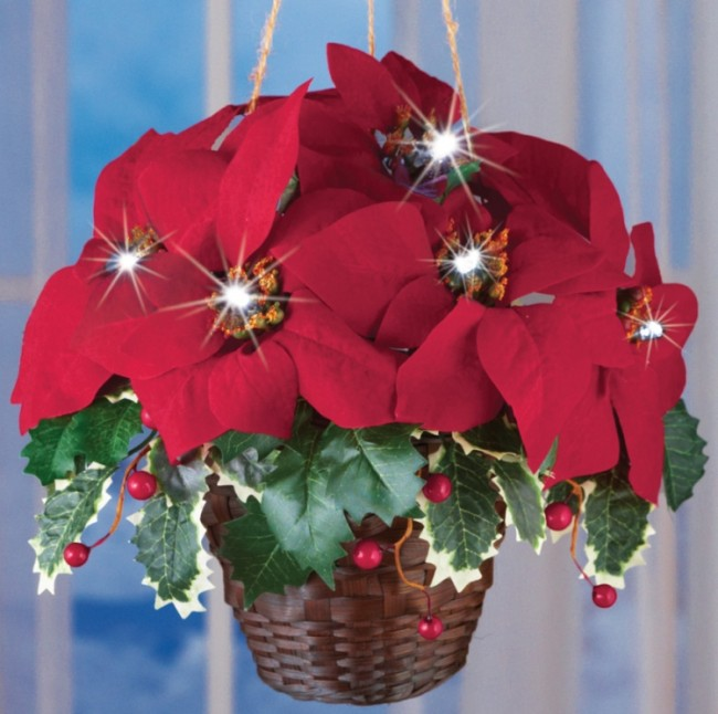 Lighted Christmas Poinsettia Hanging Basket Decoration