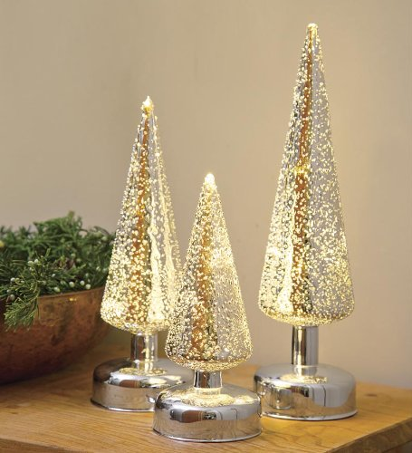 Lighted Silver Glass Christmas Trees