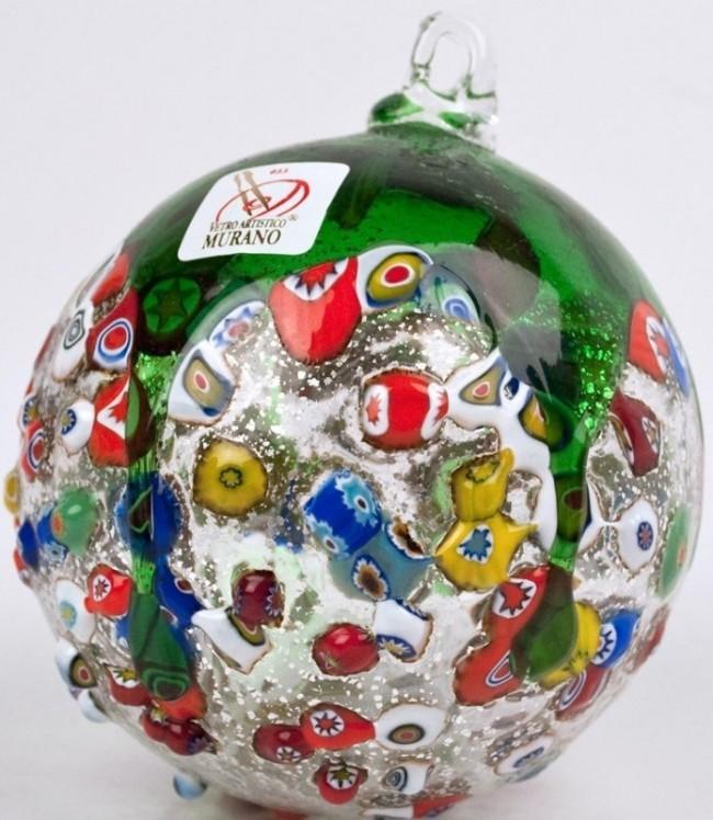 Murano Glass Christmas Ornament with Murrina Fantasia
