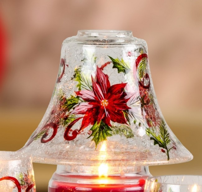 Poinsettia Swirl Crackle Glass Large Candle Jar Shade