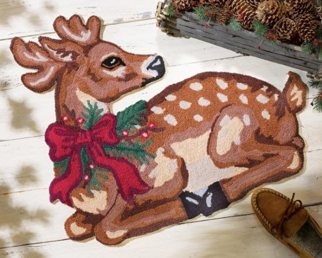 Reindeer Holiday Accent Rug