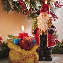 Santa And Santas Toy Bag Christmas Candles