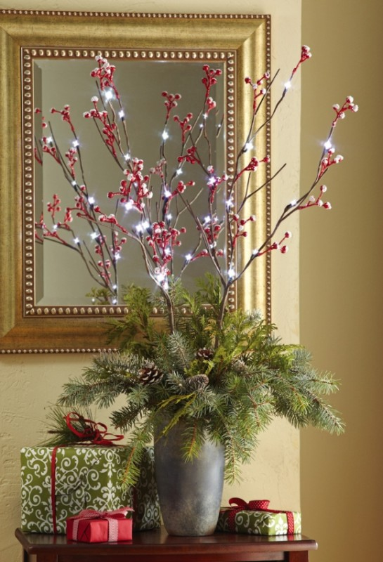 Snow Covered Holiday Berry Lighted Branches