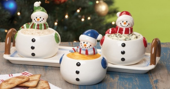 Snowman Condiment Set