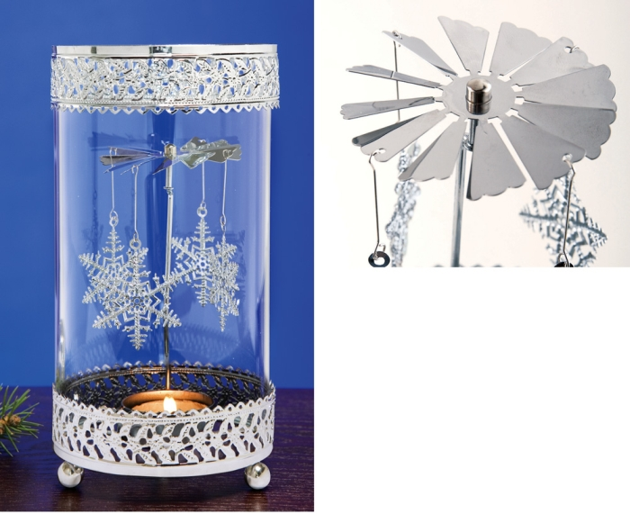 Rotating snowflake tealight candle holder decoration for 7 candle christmas decoration