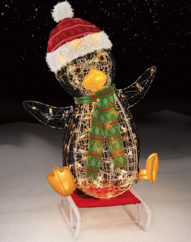 100 Light Sledding Icy Penguin Christmas Decoration