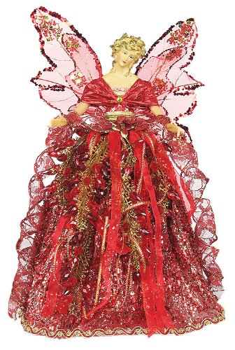 Angel Faceted Bead Skirt Burgundy Tree Topper