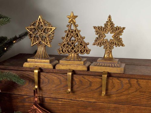Antique Gold Stars and Christmas Tree Stocking Holders