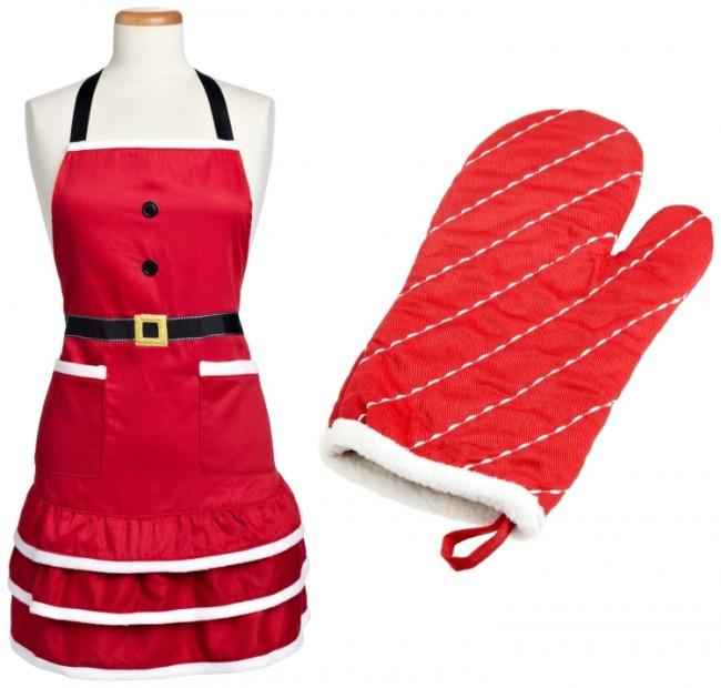 Baking Adult Size Santa Apron and Santa Oven Mitt