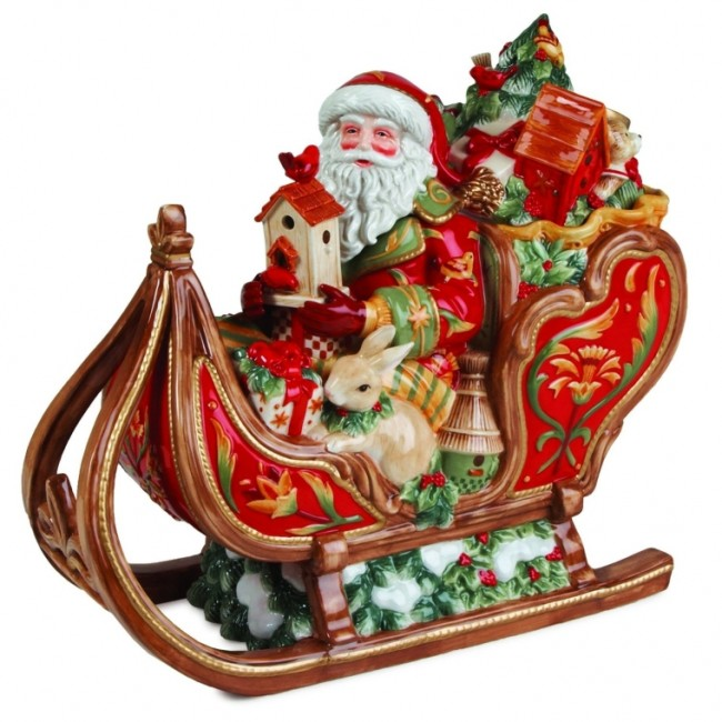 Bellacara Santa  Sleigh Cookie Jar