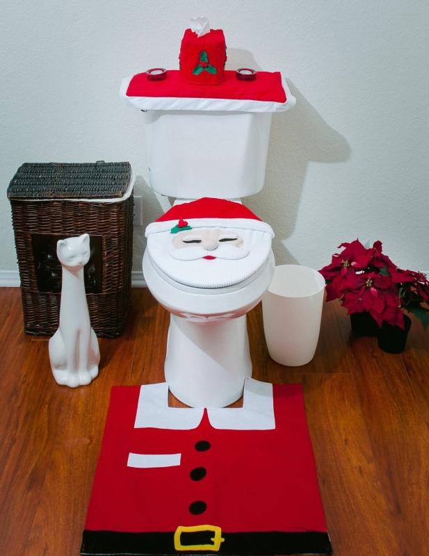 Christmas Bathroom Toilet Cover and Rug Set