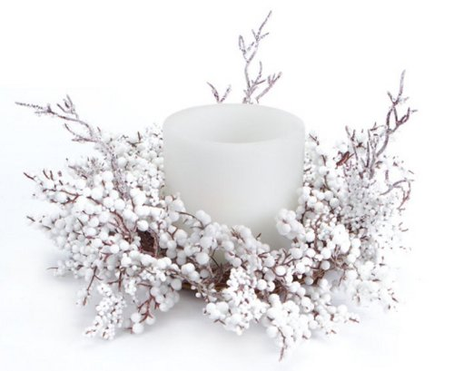 Christmas Pillar Candle Centerpieces with Snow  White Berries