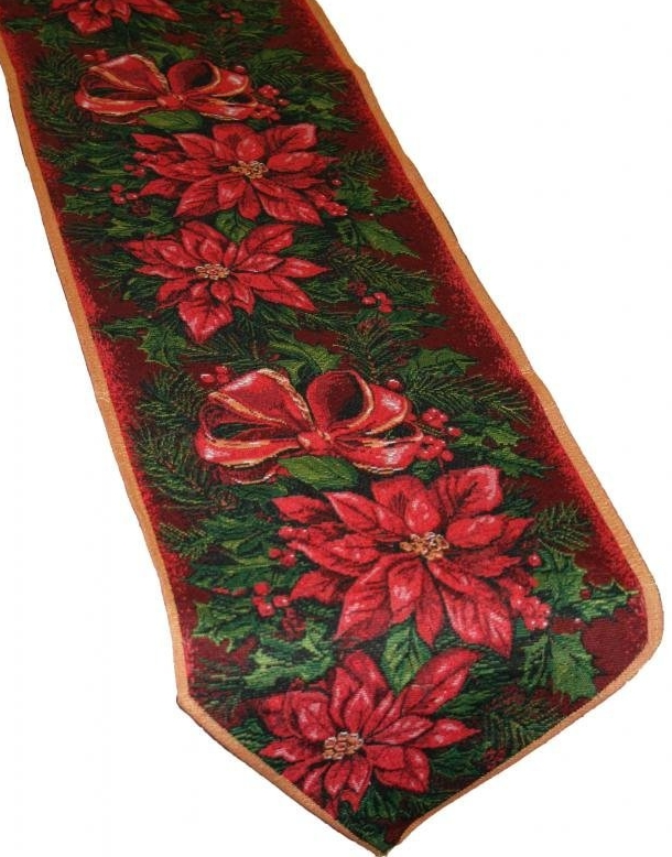 Christmas Poinsettia Table Runner