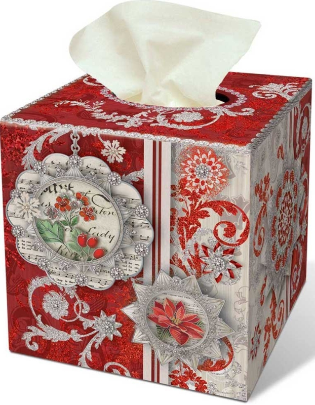Christmas Silver Shimmer Tissue Box Cover Christmas