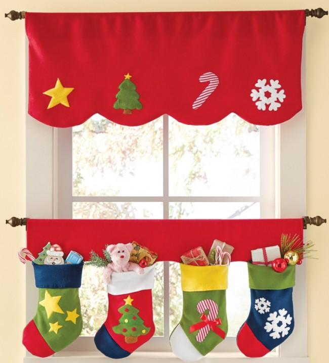 Christmas Stocking Window Curtains