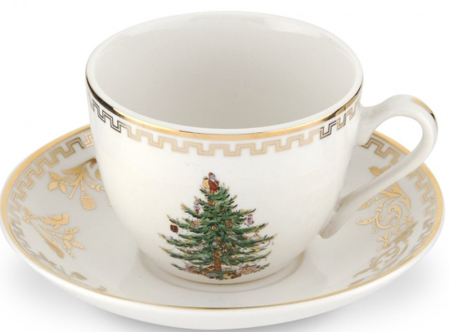Christmas Tree Gold Teacup and Saucer