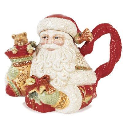 Damask Holiday Santa Teapot