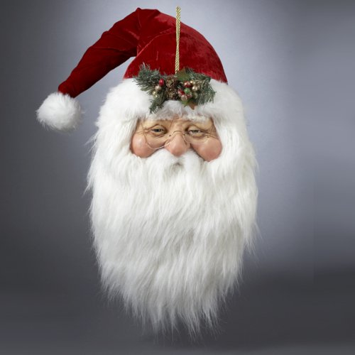 Faces of Christmas Santa Claus Head with Holly Ornament