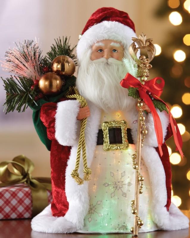 Festive Fiber Optic Santa Christmas Statue