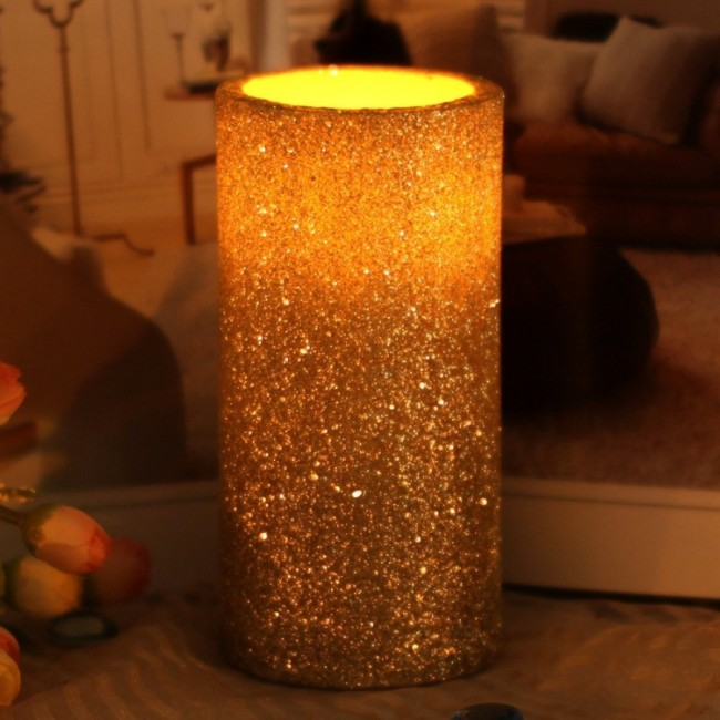 Flameless Real Wax Led Candle With Timer With Glitter Powder