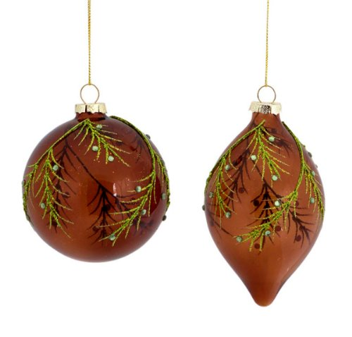 Forest Green Glitter Leaf Christmas Ornaments
