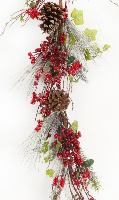 Frosted Pine with Clumps of Red Berry Garland
