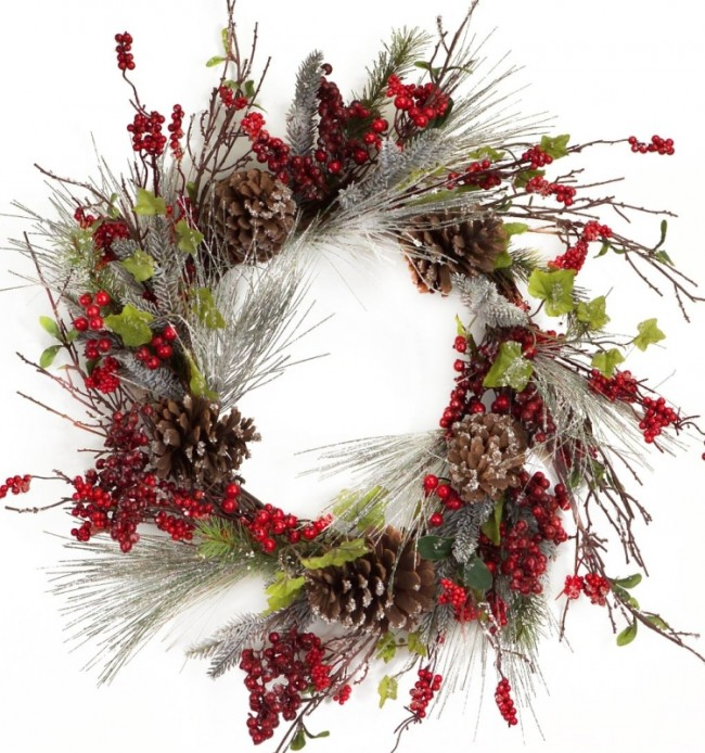 Frosted Wispy Pine 27-Inch Wreath with Red Berries and Cones