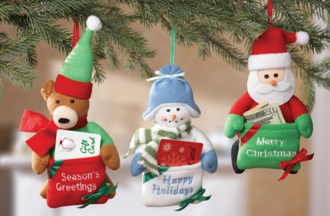 Gift Card Holder Christmas Ornaments Set of 3