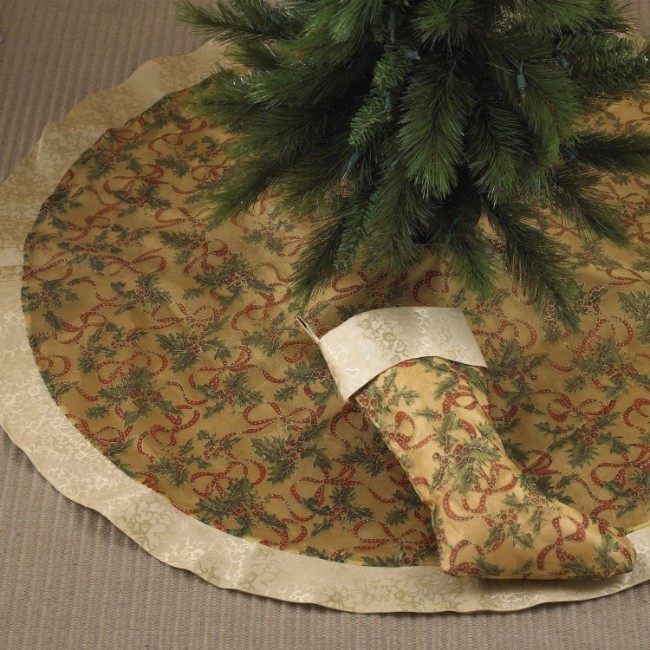 Gold Accent Christmas Holiday Tree Skirt