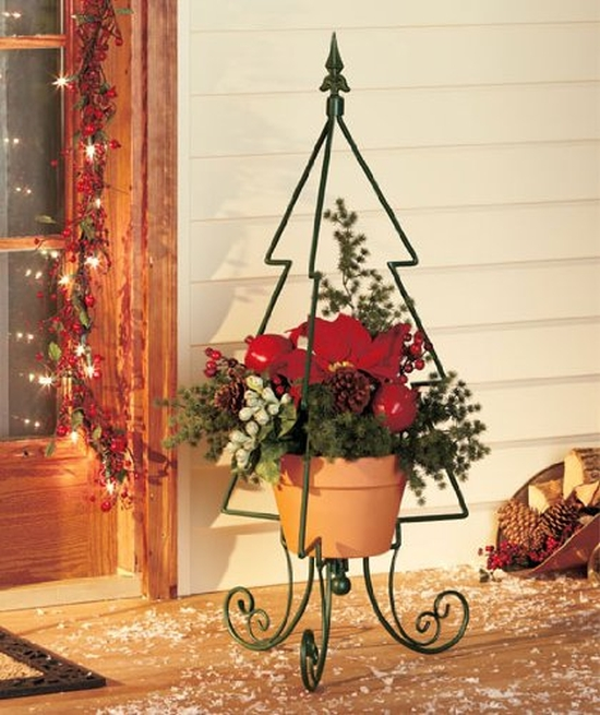 Holiday Christmas Evergreen Shaped Metal Tree Plant Stand