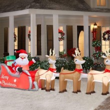 Inflatable Lighted Santa in Sleigh with Reindeers