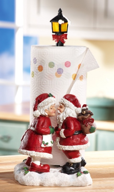 Kissing Mr  Mrs Santa Claus Christmas Paper Towel Holder