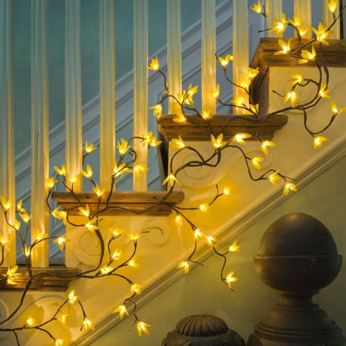 Lighting Basement Washroom Stairs: Lighted Garland Indoor