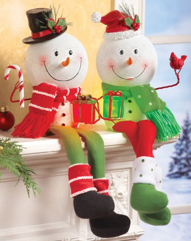 Lighted Snowman Shelf Sitter Holiday Decoration