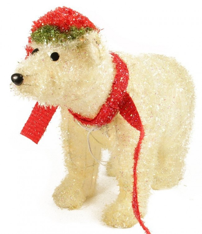 Lighted Sparkling Tinsel Polar Bear Christmas Yard Art Decoration