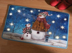 Lighted Winter Snowman Accent Rug