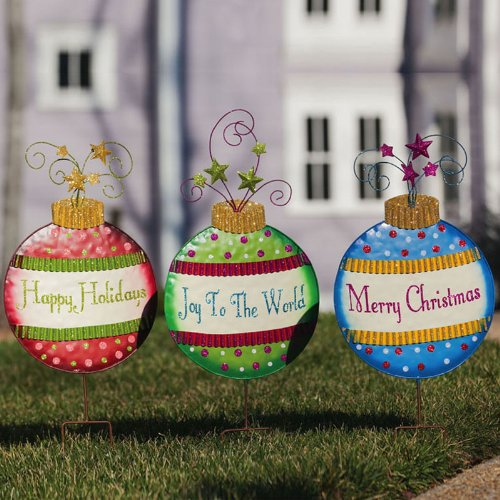 Merry Christmas Ornament Garden Stake Set